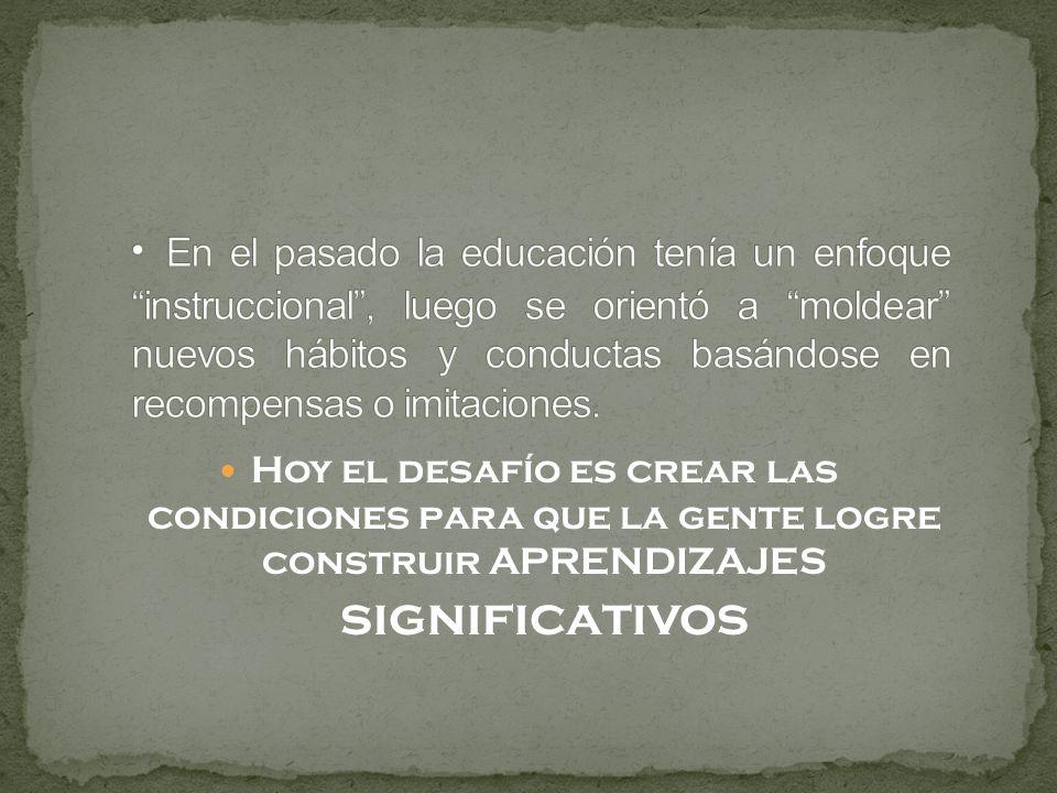 En el pasado la educación tenía un enfoque instruccional , luego se orientó a moldear nuevos hábitos y conductas basándose en recompensas o imitaciones.