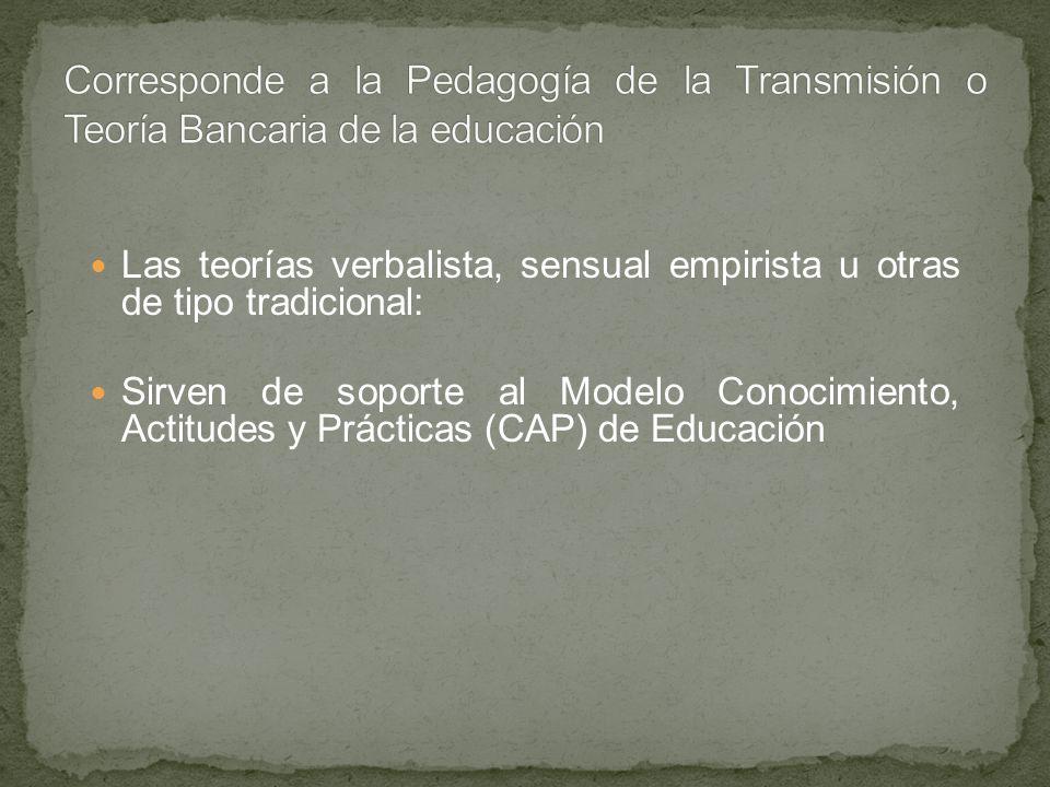 Corresponde a la Pedagogía de la Transmisión o Teoría Bancaria de la educación