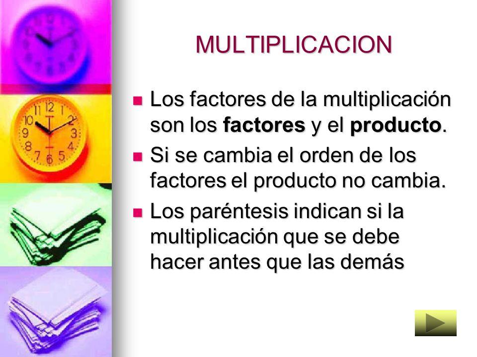 MULTIPLICACION Los factores de la multiplicación son los factores y el producto. Si se cambia el orden de los factores el producto no cambia.