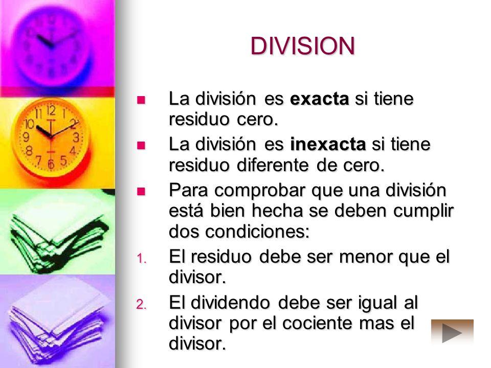 DIVISION La división es exacta si tiene residuo cero.