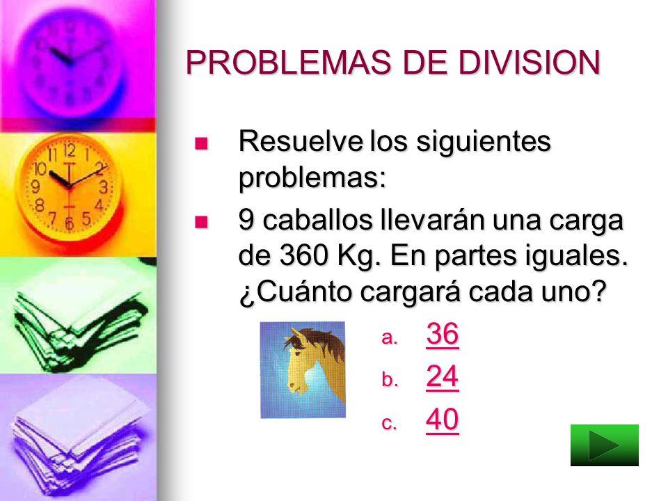PROBLEMAS DE DIVISION Resuelve los siguientes problemas: