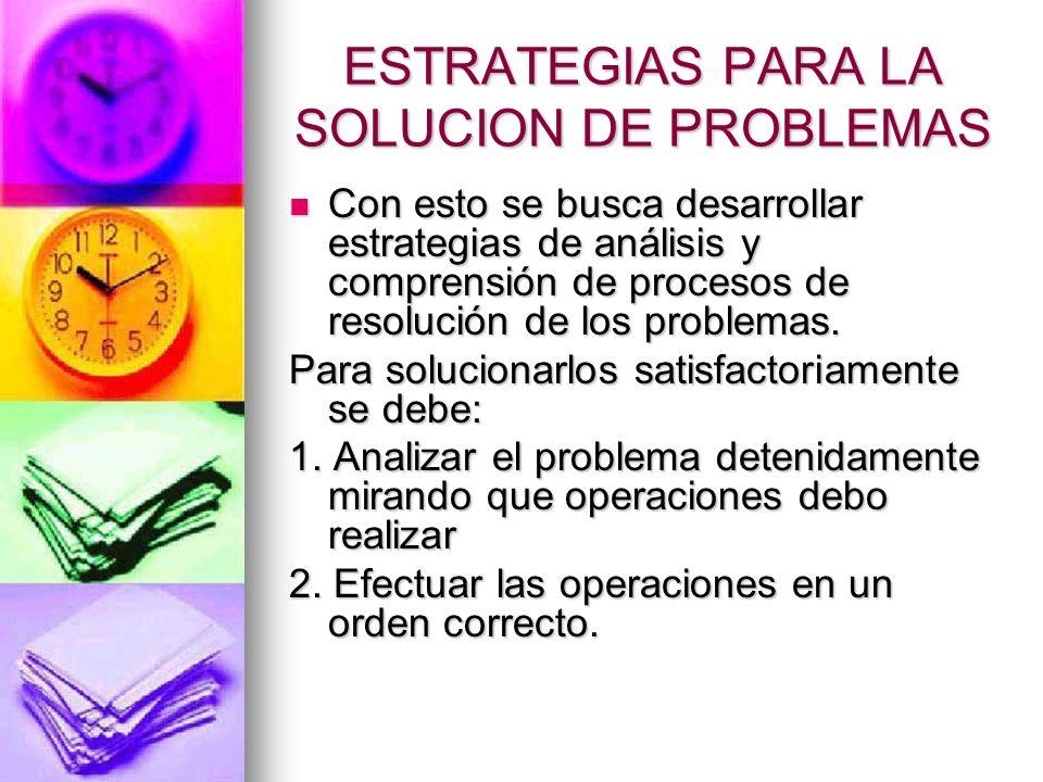 ESTRATEGIAS PARA LA SOLUCION DE PROBLEMAS