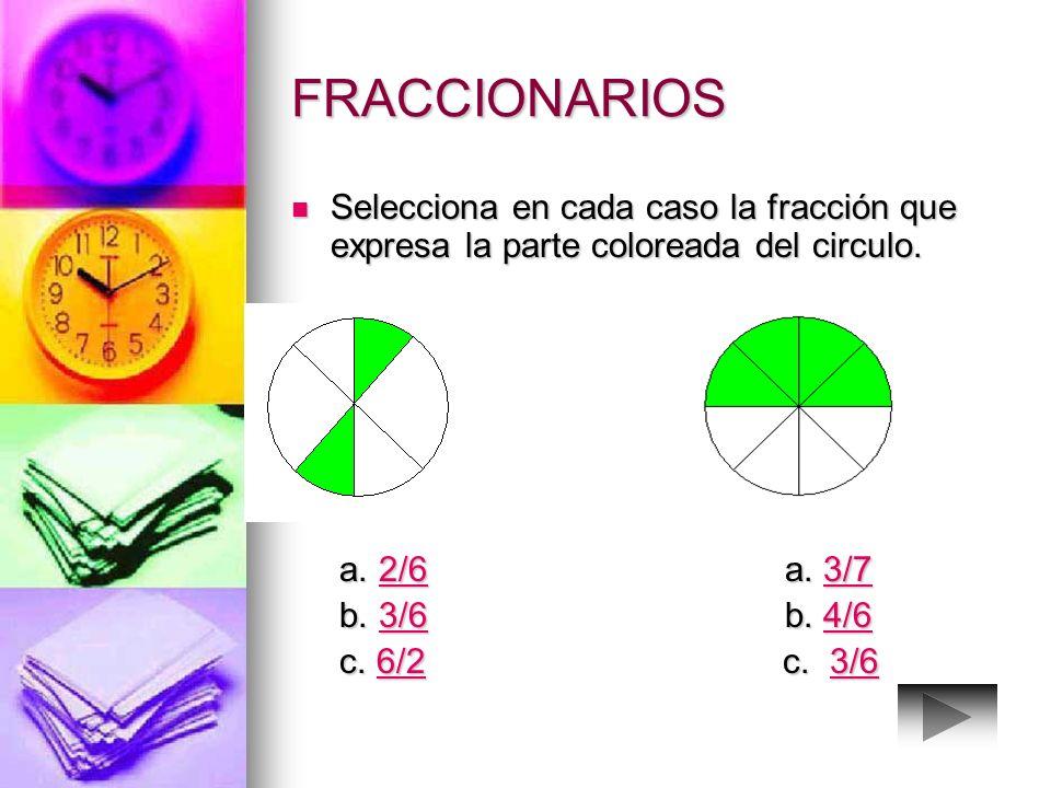 FRACCIONARIOS Selecciona en cada caso la fracción que expresa la parte coloreada del circulo. a. 2/6 a. 3/7.