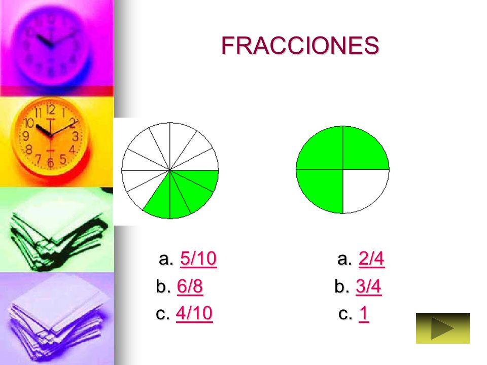 FRACCIONES a. 5/10 a. 2/4.