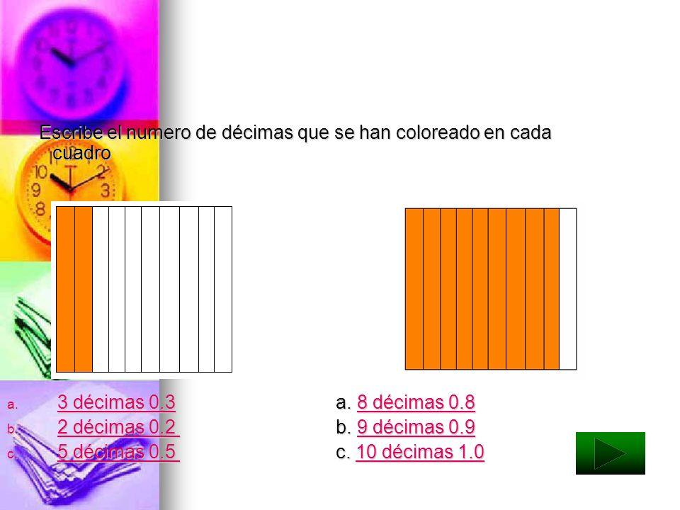 Escribe el numero de décimas que se han coloreado en cada cuadro