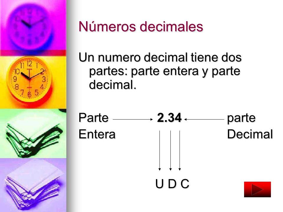Números decimales Un numero decimal tiene dos partes: parte entera y parte decimal. Parte 2.34 parte.
