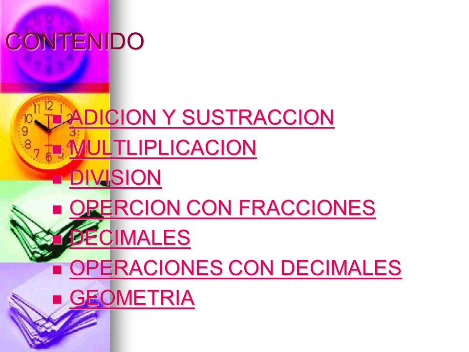 CONTENIDO ADICION Y SUSTRACCION MULTLIPLICACION DIVISION