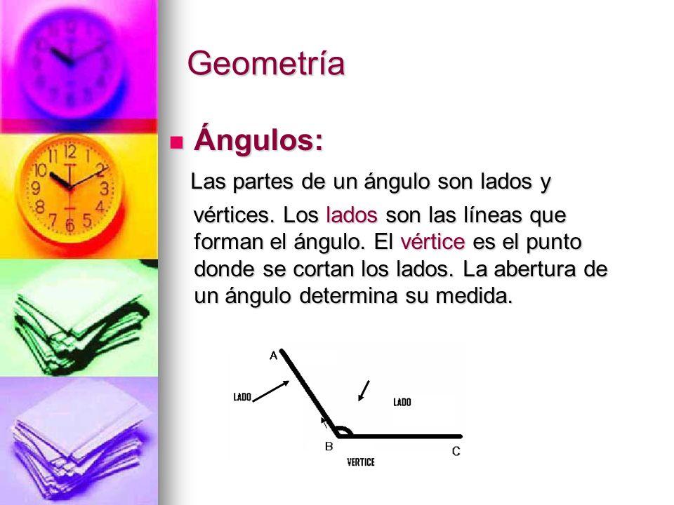 Geometría Ángulos: Las partes de un ángulo son lados y