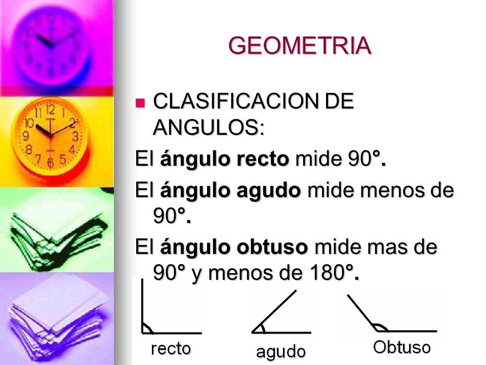 GEOMETRIA CLASIFICACION DE ANGULOS: El ángulo recto mide 90°.