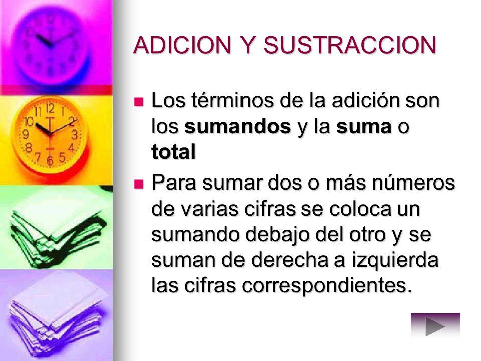ADICION Y SUSTRACCION Los términos de la adición son los sumandos y la suma o total.