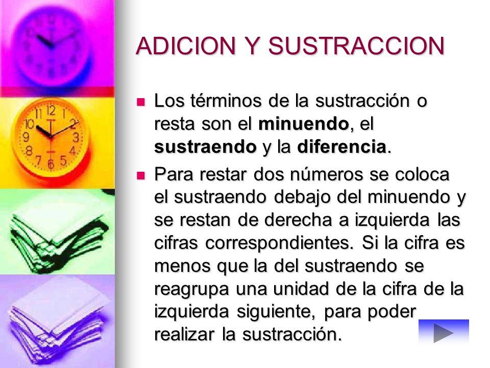 ADICION Y SUSTRACCION Los términos de la sustracción o resta son el minuendo, el sustraendo y la diferencia.