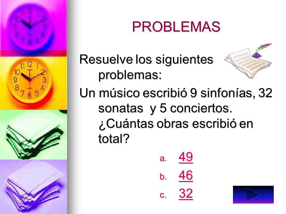 PROBLEMAS Resuelve los siguientes problemas: