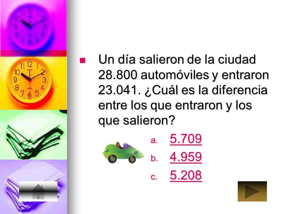 Un día salieron de la ciudad 28. 800 automóviles y entraron 23. 041