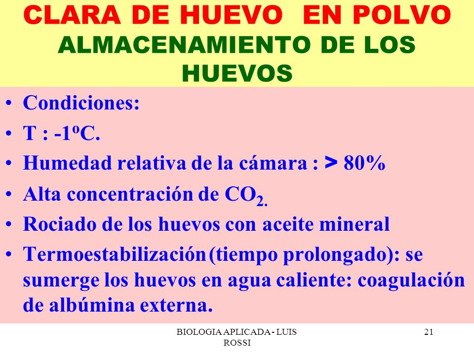 CLARA DE HUEVO EN POLVO ALMACENAMIENTO DE LOS HUEVOS