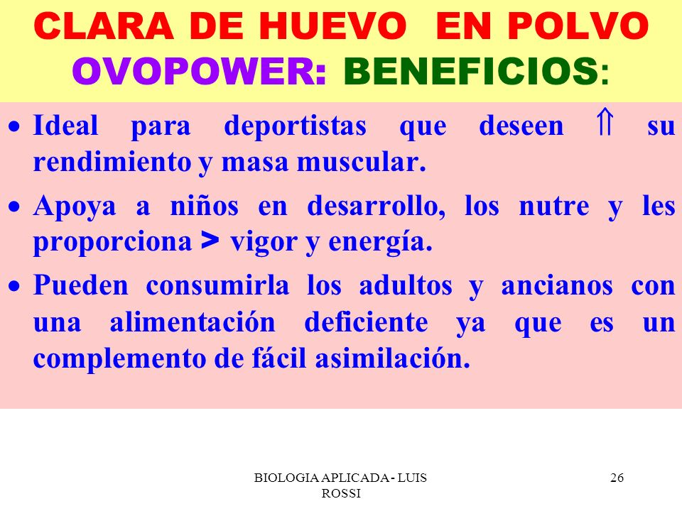 CLARA DE HUEVO EN POLVO OVOPOWER: BENEFICIOS: