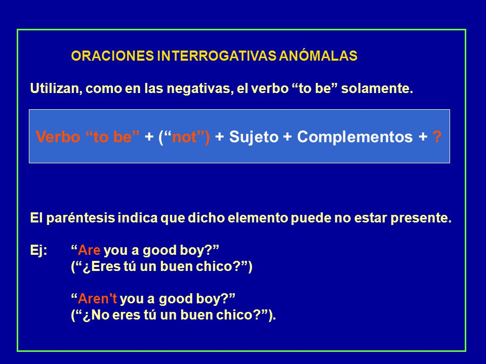 Verbo to be + ( not ) + Sujeto + Complementos +
