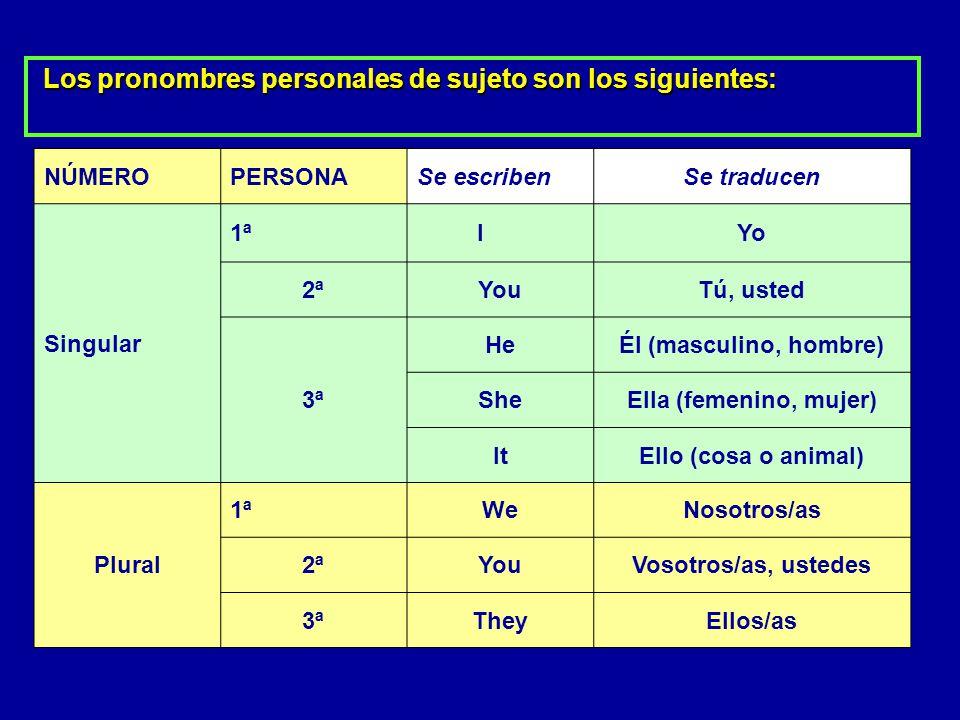 Los pronombres personales de sujeto son los siguientes: