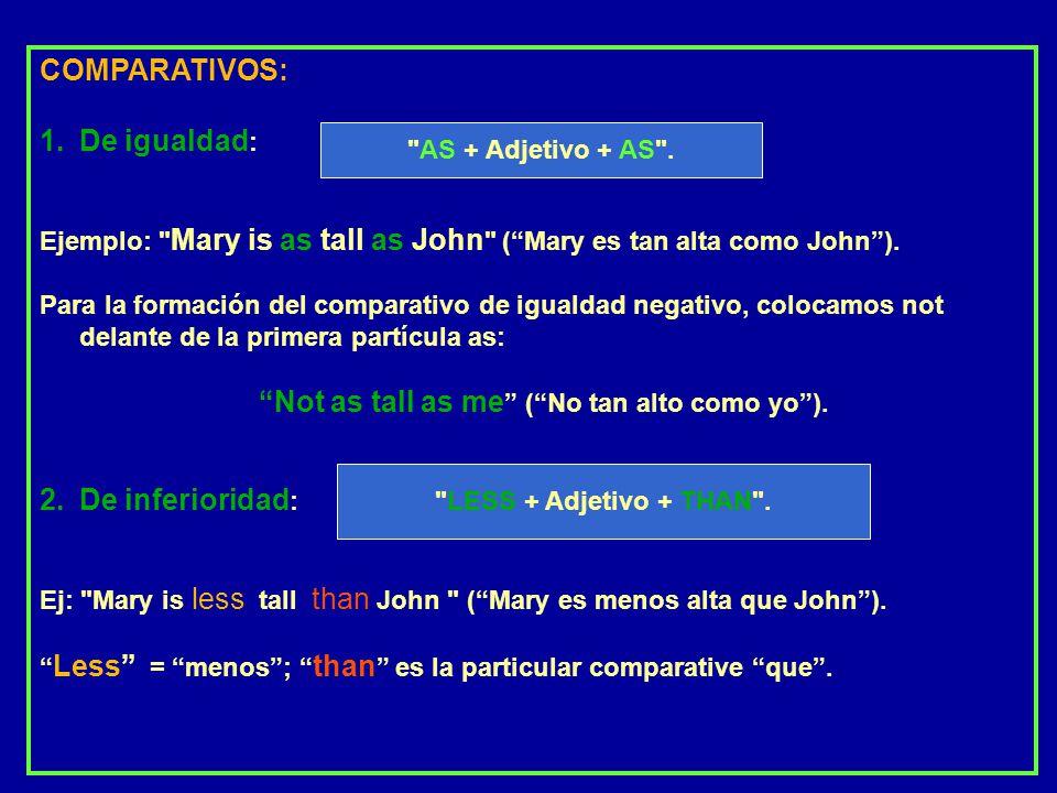 COMPARATIVOS: De igualdad: De inferioridad: AS + Adjetivo + AS .