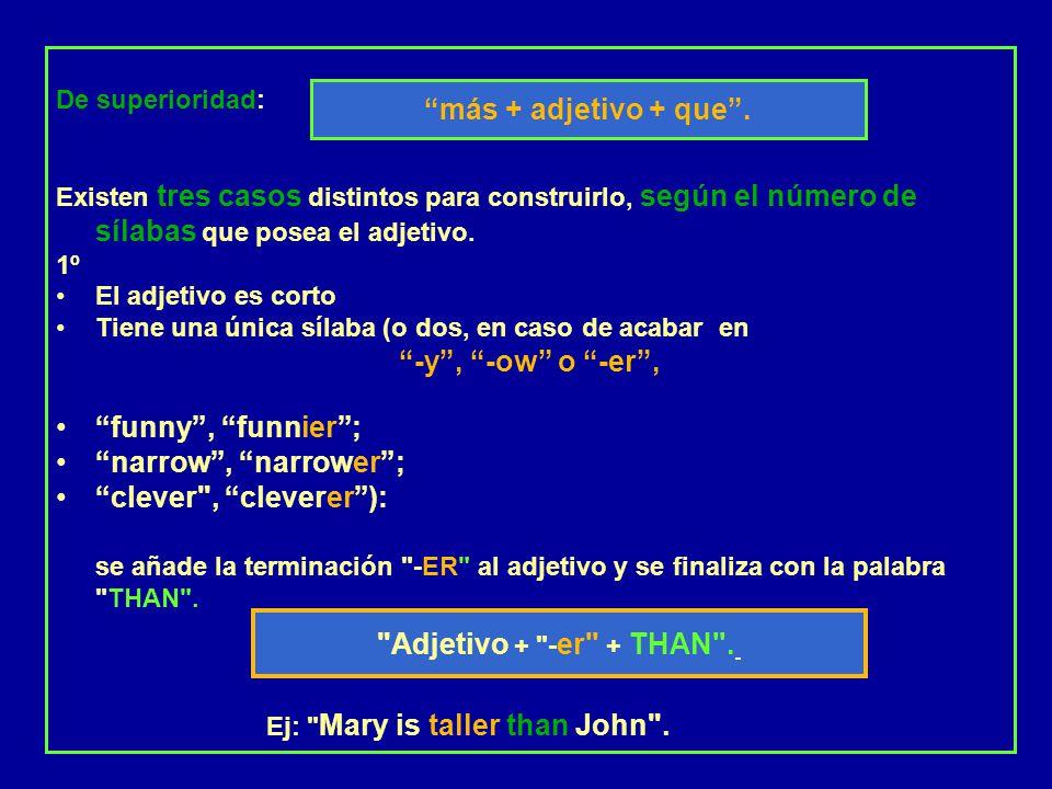 -y , -ow o -er , más + adjetivo + que .