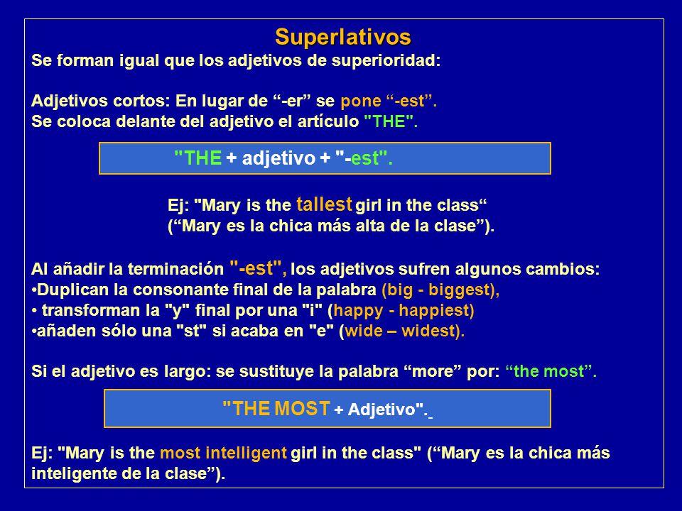 Superlativos THE + adjetivo + -est . THE MOST + Adjetivo .