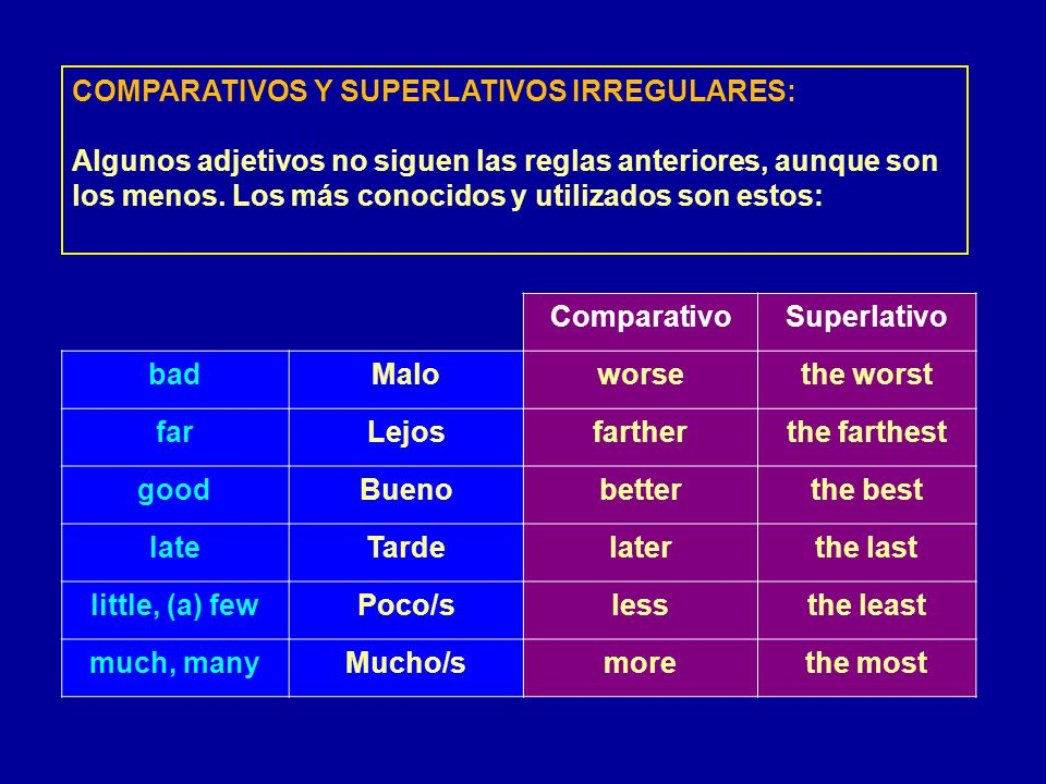 COMPARATIVOS Y SUPERLATIVOS IRREGULARES: