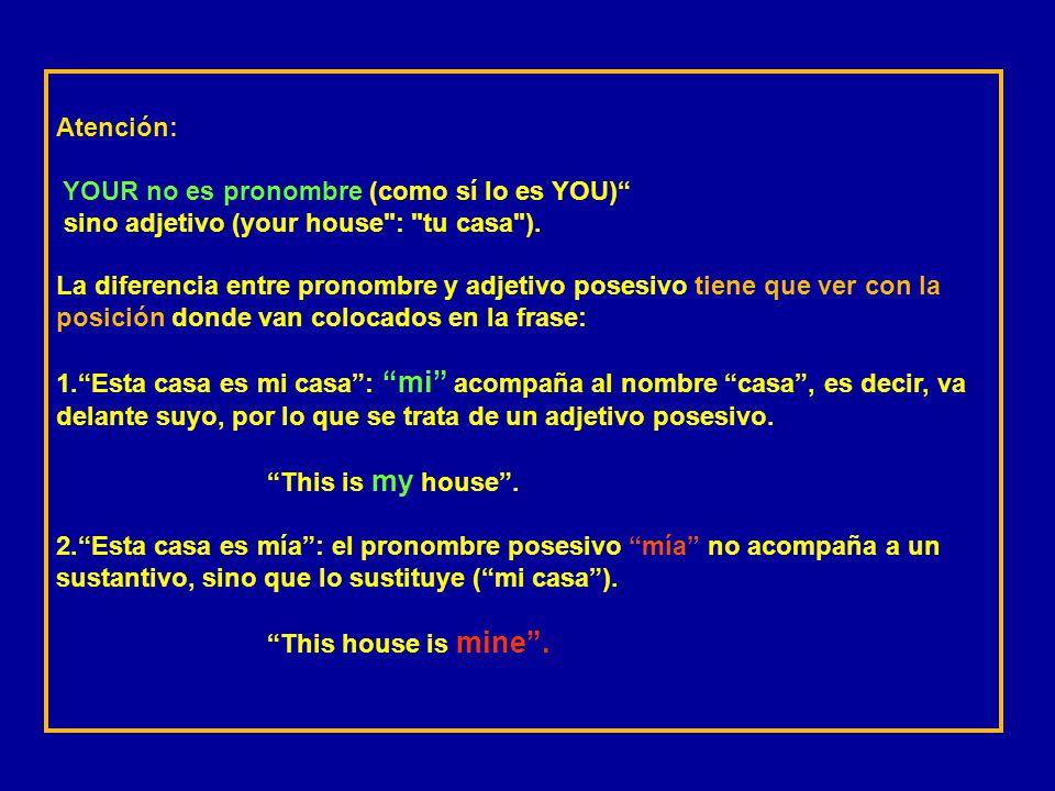 Atención: YOUR no es pronombre (como sí lo es YOU) sino adjetivo (your house : tu casa ).