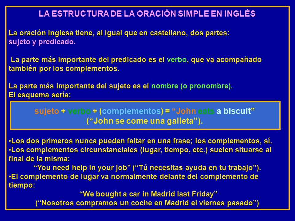 LA ESTRUCTURA DE LA ORACIÓN SIMPLE EN INGLÉS