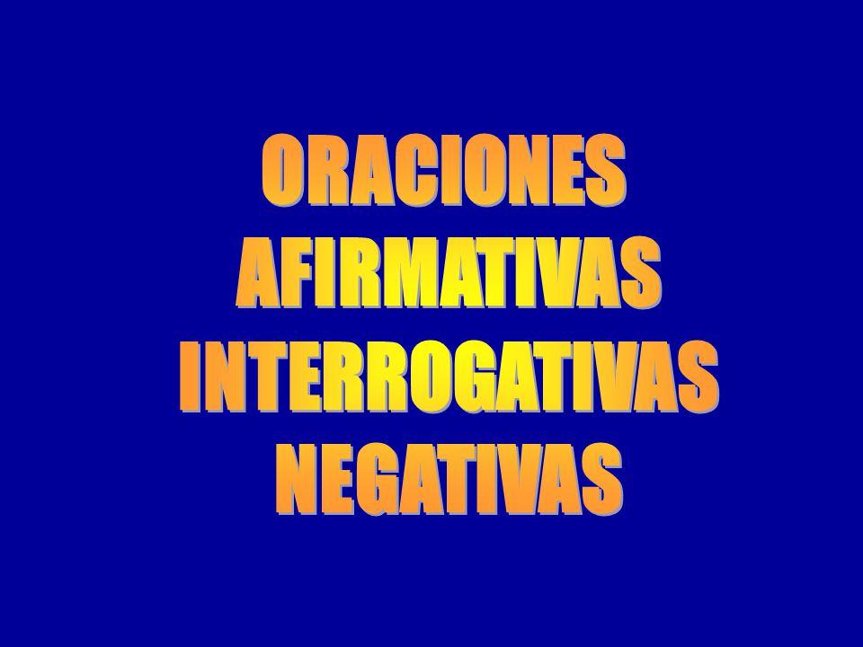 ORACIONES AFIRMATIVAS INTERROGATIVAS NEGATIVAS
