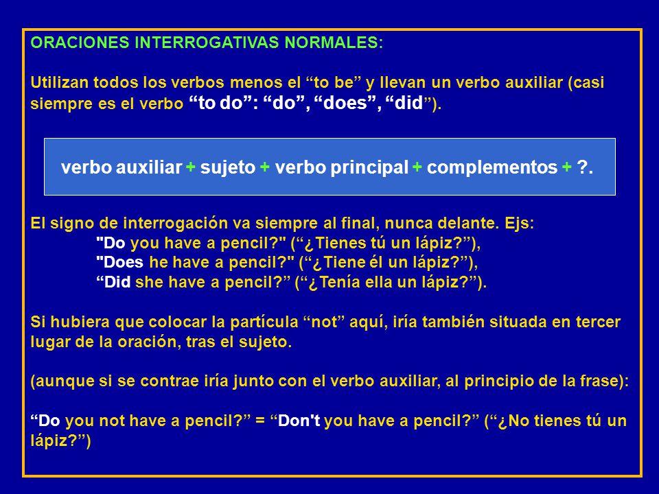 verbo auxiliar + sujeto + verbo principal + complementos + .