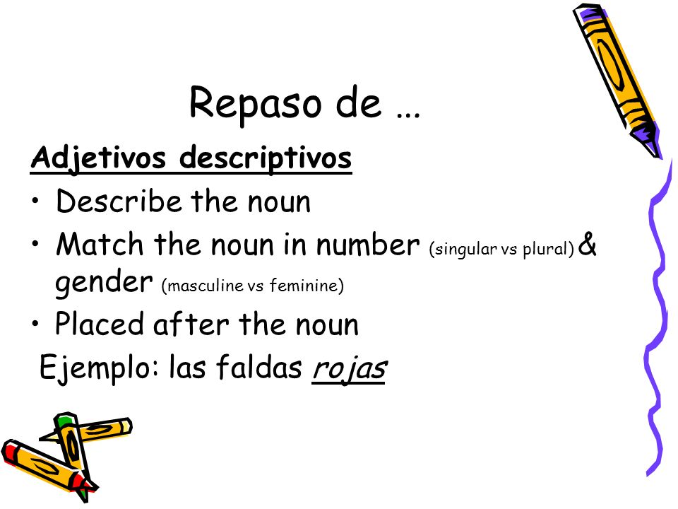 Repaso de … Adjetivos descriptivos Describe the noun