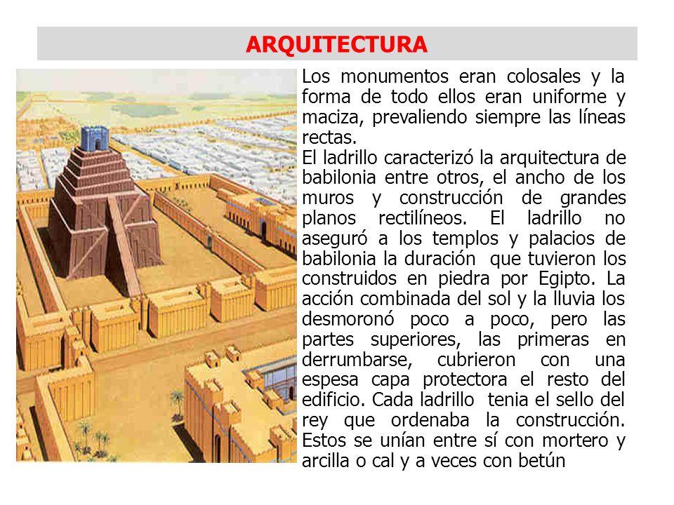 ARQUITECTURA Los monumentos eran colosales y la forma de todo ellos eran uniforme y maciza, prevaliendo siempre las líneas rectas.