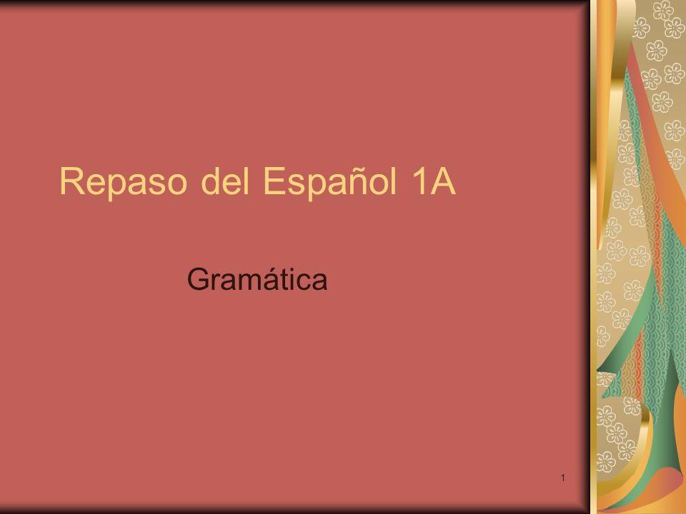 Repaso del Español 1A Gramática