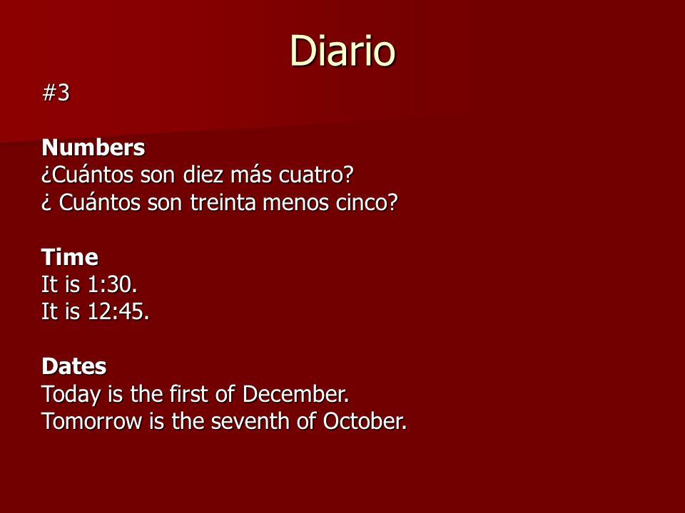 Diario #3 Numbers ¿Cuántos son diez más cuatro