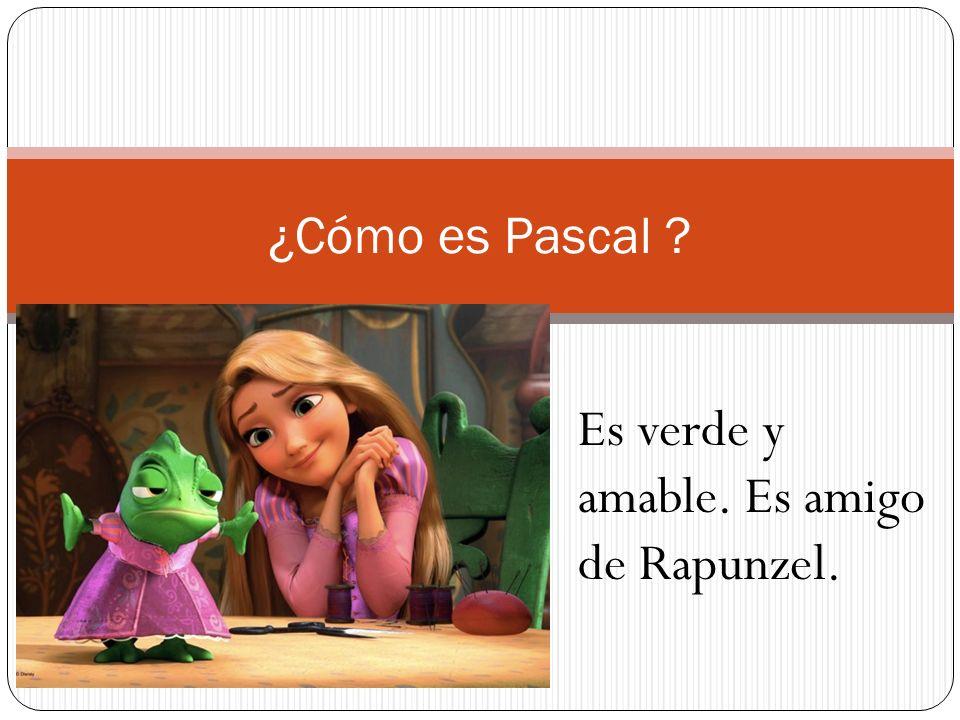 Es verde y amable. Es amigo de Rapunzel.