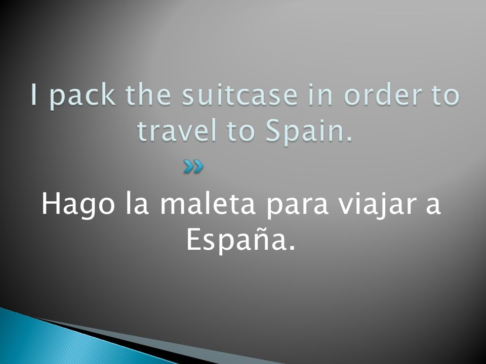 I pack the suitcase in order to travel to Spain.