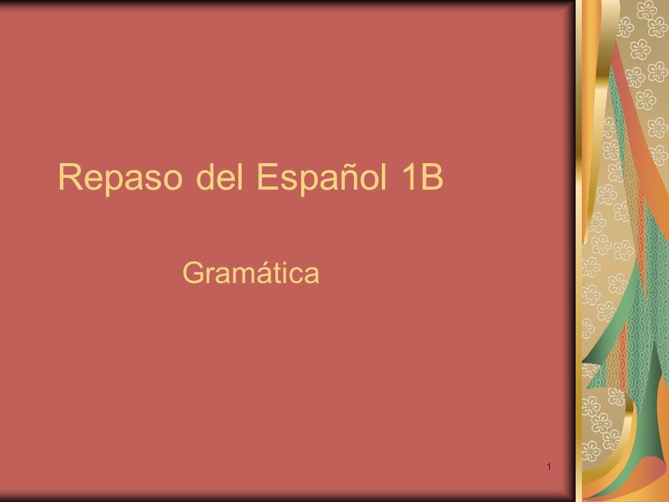 Repaso del Español 1B Gramática