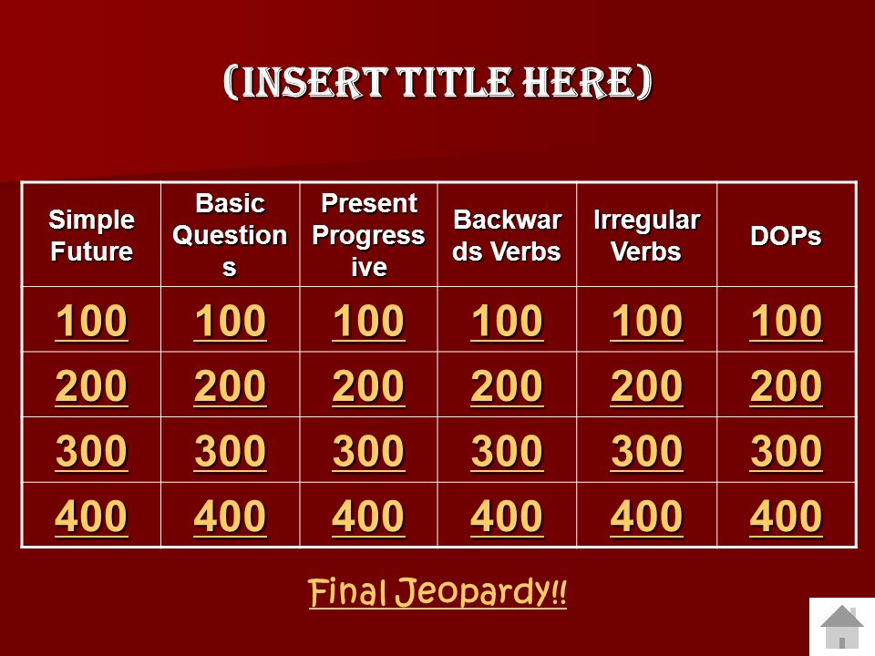 100 200 300 400 (Insert Title Here) Final Jeopardy!! Simple Future