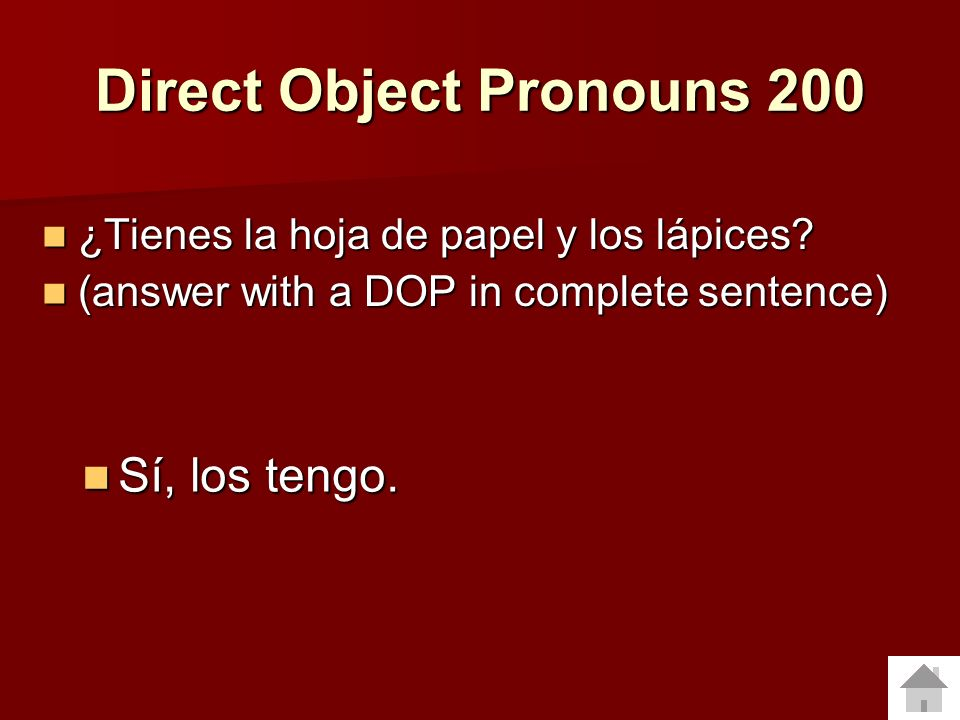 Direct Object Pronouns 200