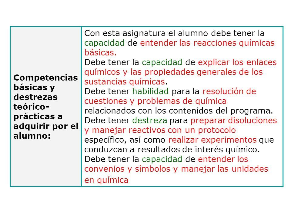 Competencias básicas y destrezas teórico-prácticas a adquirir por el alumno: