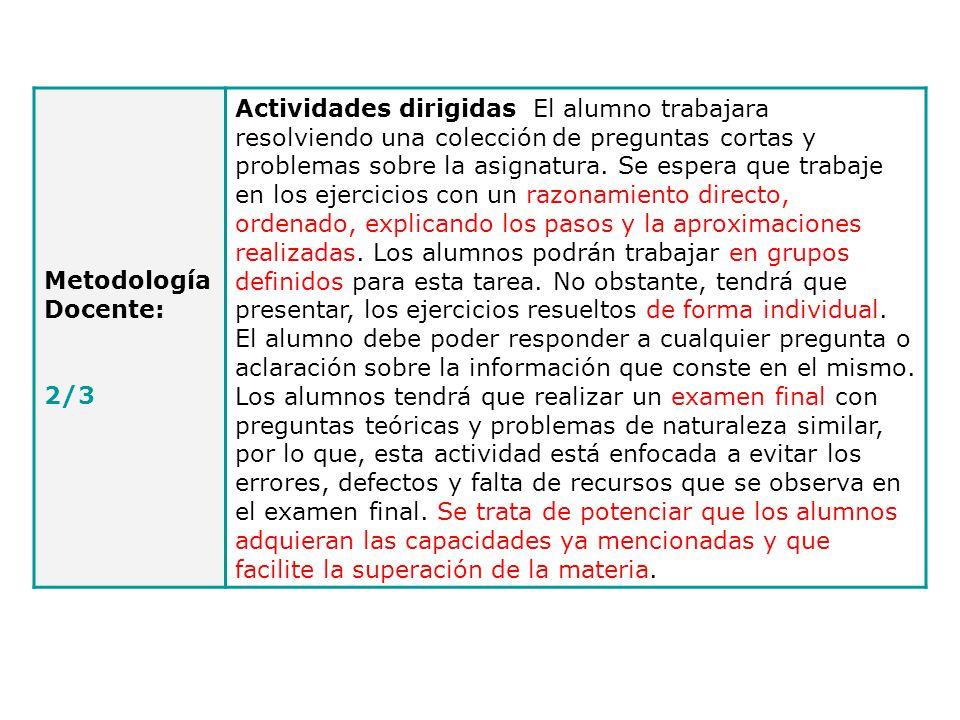 Metodología Docente: 2/3.