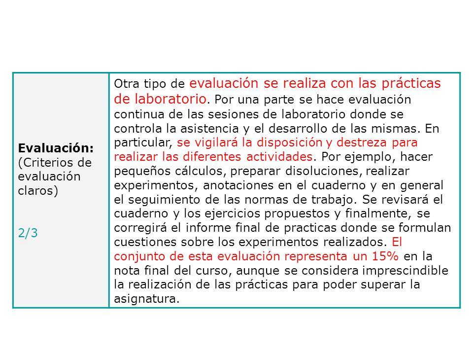 Evaluación: (Criterios de evaluación claros)