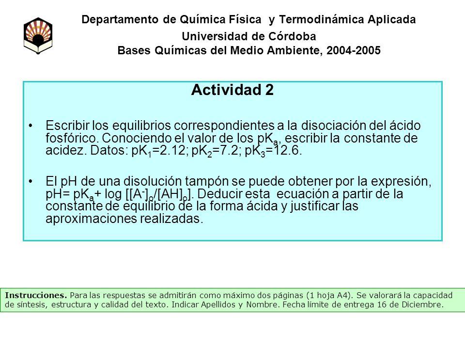 Departamento de Química Física y Termodinámica Aplicada Universidad de Córdoba Bases Químicas del Medio Ambiente, 2004-2005