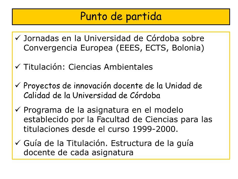 Punto de partida Jornadas en la Universidad de Córdoba sobre Convergencia Europea (EEES, ECTS, Bolonia)