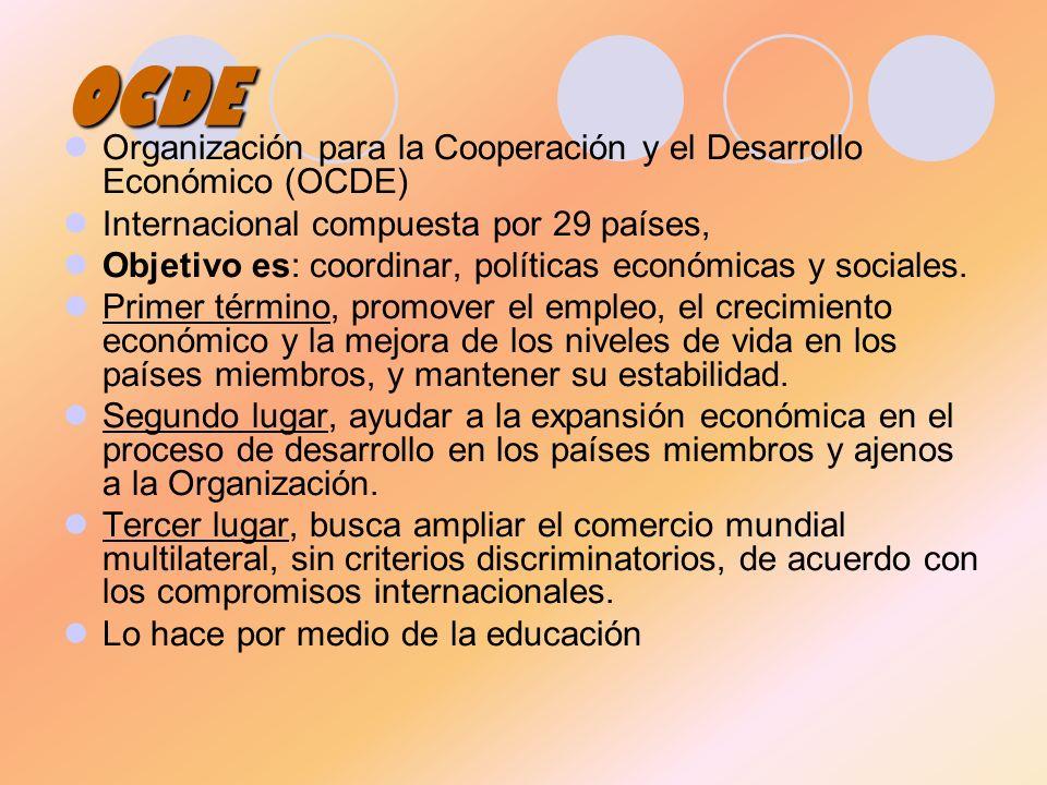 OCDE Organización para la Cooperación y el Desarrollo Económico (OCDE)