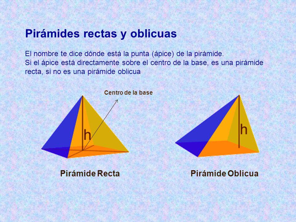 Pirámides rectas y oblicuas Pirámide Recta Pirámide Oblicua