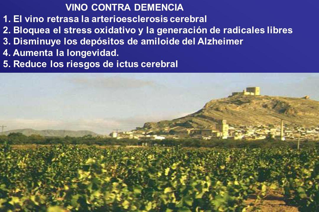 VINO CONTRA DEMENCIA 1. El vino retrasa la arterioesclerosis cerebral. 2. Bloquea el stress oxidativo y la generación de radicales libres.