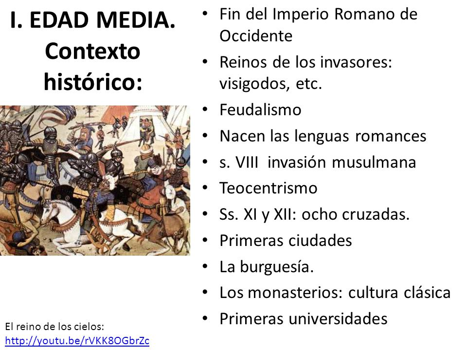 I. EDAD MEDIA. Contexto histórico: