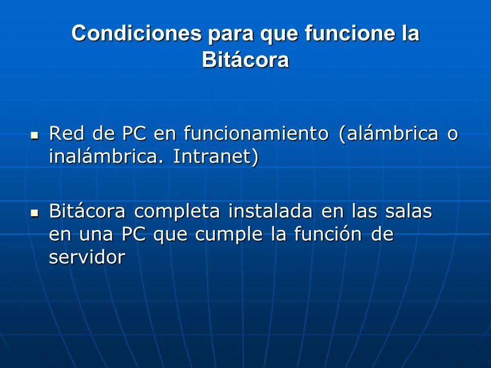 Condiciones para que funcione la Bitácora