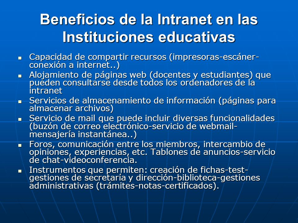 Beneficios de la Intranet en las Instituciones educativas