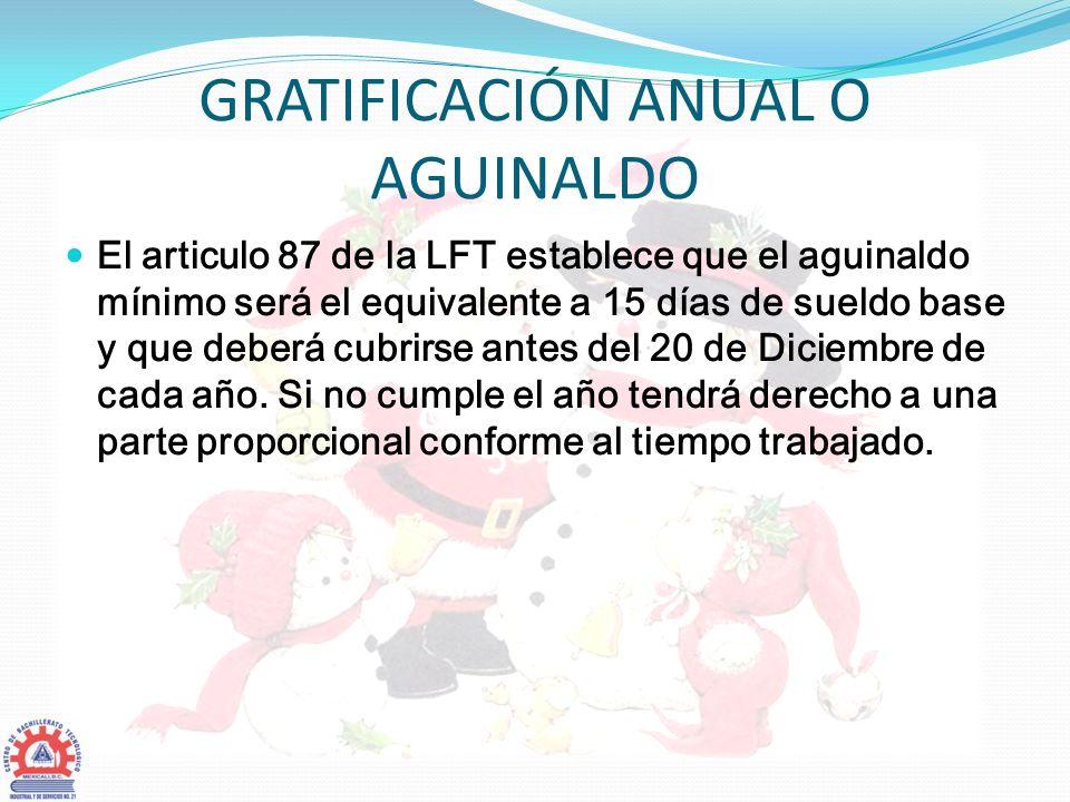GRATIFICACIÓN ANUAL O AGUINALDO
